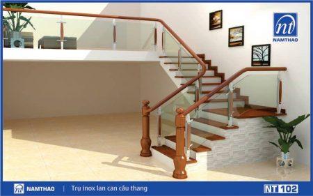 Trụ cầu thang kính ốp gỗ